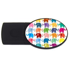 Cute Colorful Elephants Usb Flash Drive Oval (2 Gb) by Brittlevirginclothing