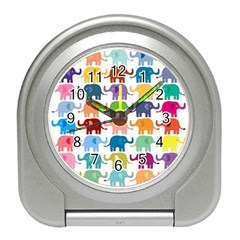 Cute Colorful Elephants Travel Alarm Clocks by Brittlevirginclothing