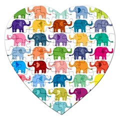 Cute Colorful Elephants Jigsaw Puzzle (heart) by Brittlevirginclothing