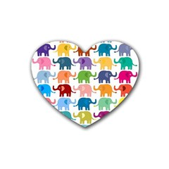 Cute Colorful Elephants Rubber Coaster (heart)  by Brittlevirginclothing