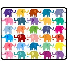 Cute Colorful Elephants Fleece Blanket (medium)  by Brittlevirginclothing