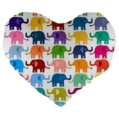 Cute Colorful Elephants Large 19  Premium Heart Shape Cushions by Brittlevirginclothing