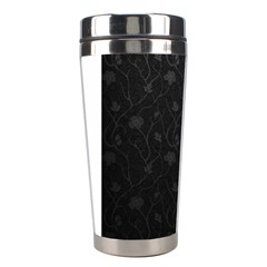 Dark Silvered Flower Stainless Steel Travel Tumblers by Brittlevirginclothing