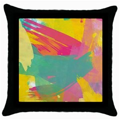 Paint Brush Throw Pillow Case (black) by Brittlevirginclothing