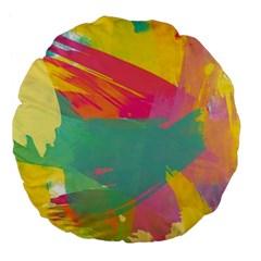 Paint Brush Large 18  Premium Flano Round Cushions by Brittlevirginclothing