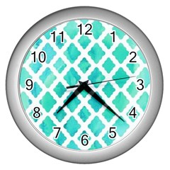 Blue Mosaic Wall Clocks (silver)  by Brittlevirginclothing