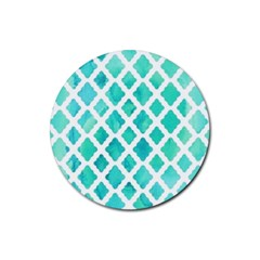 Blue Mosaic Rubber Round Coaster (4 Pack)  by Brittlevirginclothing