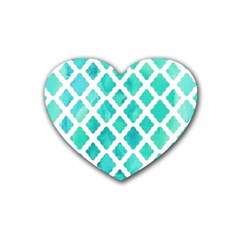 Blue Mosaic Rubber Coaster (heart)  by Brittlevirginclothing