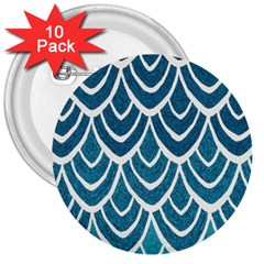Blue Fish Scale 3  Buttons (10 Pack)  by Brittlevirginclothing