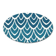 Blue Fish Scale Oval Magnet by Brittlevirginclothing