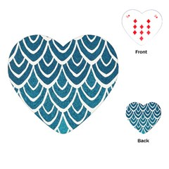 Blue Fish Scale Playing Cards (heart)  by Brittlevirginclothing