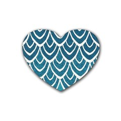 Blue Fish Scale Rubber Coaster (heart)  by Brittlevirginclothing