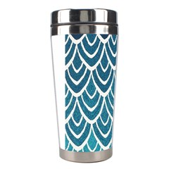 Blue Fish Scale Stainless Steel Travel Tumblers by Brittlevirginclothing