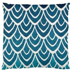 Blue Fish Scale Large Flano Cushion Case (one Side) by Brittlevirginclothing