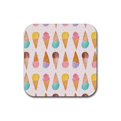 Cute Ice Cream Rubber Coaster (square)  by Brittlevirginclothing