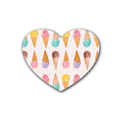 Cute Ice Cream Rubber Coaster (heart)  by Brittlevirginclothing