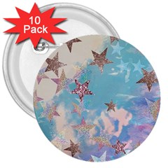 Pastel Stars 3  Buttons (10 Pack)  by Brittlevirginclothing