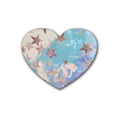 Pastel Stars Rubber Coaster (heart)  by Brittlevirginclothing