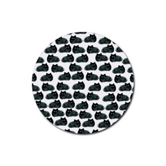 Black Cat Rubber Round Coaster (4 Pack)  by Brittlevirginclothing