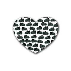 Black Cat Rubber Coaster (heart)  by Brittlevirginclothing