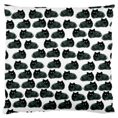 Black Cat Large Flano Cushion Case (one Side) by Brittlevirginclothing