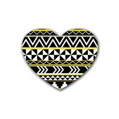 Black Bohemian Rubber Coaster (heart)  by Brittlevirginclothing
