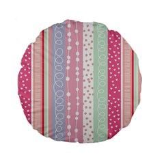 Pink Wood Standard 15  Premium Flano Round Cushions by Brittlevirginclothing