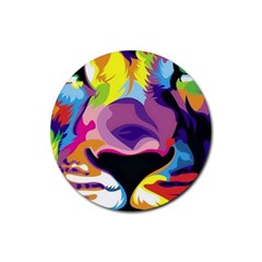 Colorful Lion Rubber Coaster (round)  by Brittlevirginclothing
