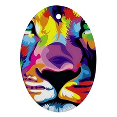 Colorful Lion Oval Ornament (two Sides) by Brittlevirginclothing