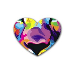 Colorful Lion Heart Coaster (4 Pack)  by Brittlevirginclothing