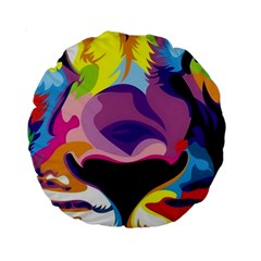 Colorful Lion Standard 15  Premium Round Cushions by Brittlevirginclothing