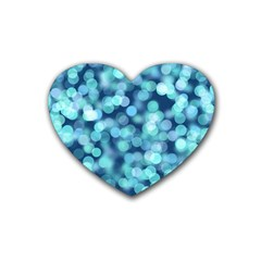 Blue Light Rubber Coaster (heart)  by Brittlevirginclothing