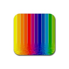 Faded Rainbow  Rubber Square Coaster (4 Pack)  by Brittlevirginclothing