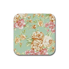 Vintage Pastel Flower Rubber Square Coaster (4 Pack)  by Brittlevirginclothing