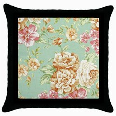 Vintage Pastel Flower Throw Pillow Case (black) by Brittlevirginclothing