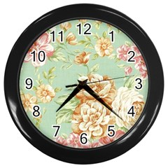 Vintage Pastel Flower Wall Clocks (black) by Brittlevirginclothing