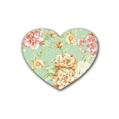 Vintage Pastel Flower Rubber Coaster (heart)  by Brittlevirginclothing