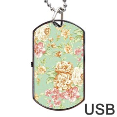 Vintage Pastel Flower Dog Tag Usb Flash (two Sides) by Brittlevirginclothing