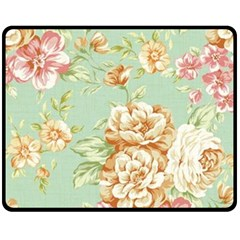 Vintage Pastel Flower Double Sided Fleece Blanket (medium)  by Brittlevirginclothing