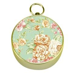 Vintage Pastel Flower Gold Compasses by Brittlevirginclothing