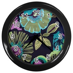 Dark Lila Flower Wall Clocks (black) by Brittlevirginclothing