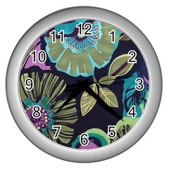 Dark Lila Flower Wall Clocks (silver)  by Brittlevirginclothing