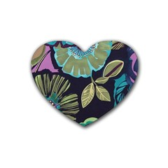 Dark Lila Flower Rubber Coaster (heart)  by Brittlevirginclothing