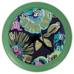 Dark Lila Flower Color Wall Clocks by Brittlevirginclothing