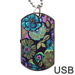 Dark Lila Flower Dog Tag Usb Flash (two Sides) by Brittlevirginclothing