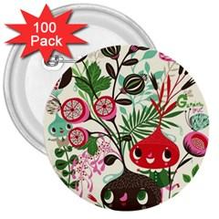 Cute Cartoon 3  Buttons (100 Pack)  by Brittlevirginclothing