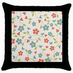 Abstract Vintage Flower Floral Pattern Throw Pillow Case (black) by Amaryn4rt