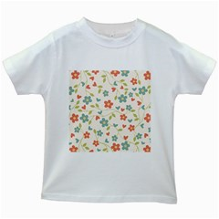 Abstract Vintage Flower Floral Pattern Kids White T Shirts by Amaryn4rt