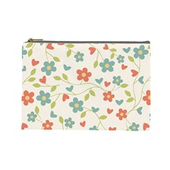 Abstract Vintage Flower Floral Pattern Cosmetic Bag (large)  by Amaryn4rt