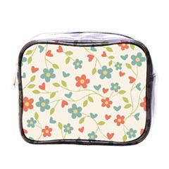 Abstract Vintage Flower Floral Pattern Mini Toiletries Bags by Amaryn4rt